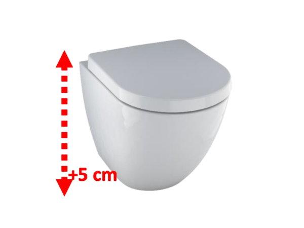 Spülrandloses Erhöhtes Wand-WC, Sitzfläche 5 cm erhöht