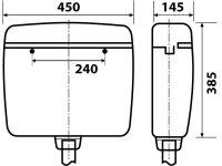 Spülkasten, Farbe: pergamon, 2-Mengen-Spültechnik