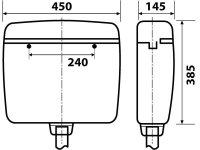 Spülkasten, Farbe: beige, 2-Mengen-Spültechnik