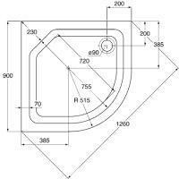 Viertelkreis-Duschwanne, 90 x 90 x 6,5 cm