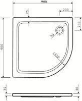 Viertelkreis-Duschwanne, 90 x 90 x 3,5 cm