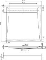 Duschwanne mit Ablaufrinne, 100 x 100 x 6 cm
