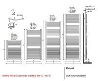 Badheizkörper Rodine, 765 mm bis 600 mm