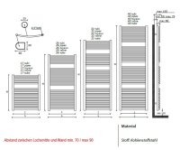 Badheizkörper Rodine, 1186 mm bis 600 mm