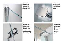 Viertelkreis-Duschkabine Softcube Premium, 100 x 100 x 185 cm, 4-teilig