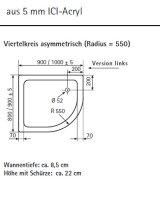 Viertelkreis Duschwanne asymetrisch links, 80 x 90 cm
