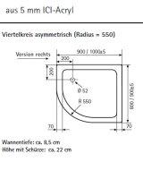 Viertelkreis Duschwanne asymetrisch rechts, 100 x 90 cm
