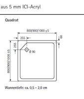 Quadrat Duschwanne super flach, 80 x 80 cm