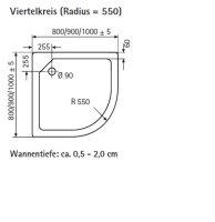 Viertelkreis Duschwanne super flach, 100 x 100 cm