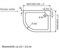 Viertelkreis Duschwanne asymetrisch rechts, 120 x 90 cm
