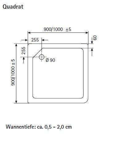 Quadrat Duschwanne aus Marmor-Polymerharz, 100 x 100 cm