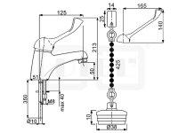 DIBL Medizinische-Waschtischbatterie, mit Spezial-Metall-Griffhebel, mit Gummistopfen und Gegengewicht