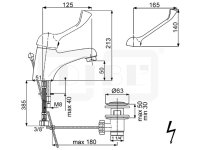 DIBL Medizinische-Waschtischbatterie, Niederdruckausführung für drucklose Untertischspeicher