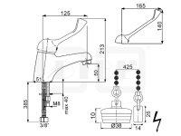 DIBL Medizinische-Waschtischbatterie, mit versenkbarer Kette, Gummistopfen, Niederdruckausführung für drucklose Untertischspeicher