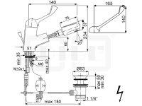 DIBL Medizinische-Waschtischbatterie, mit Auszugbrause, Niederdruckausführung für drucklose Untertischspeicher