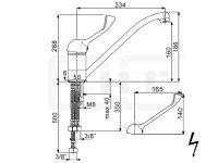 DIBL Medizinische -Spültischbatterie, Niederdruckausführung für drucklose Untertischspeicher