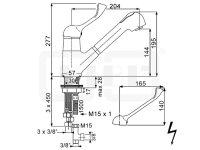DIBL Medizinische -Spültischbatterie, mit Auszugbrause, Niederdruckausführung für drucklose Untertischspeicher