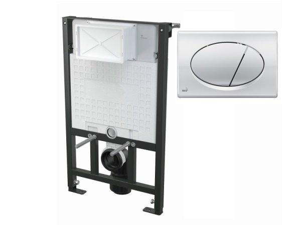 WC-Vorwandelement 850 mm mit Drückerplatte M71 chrom-glanz