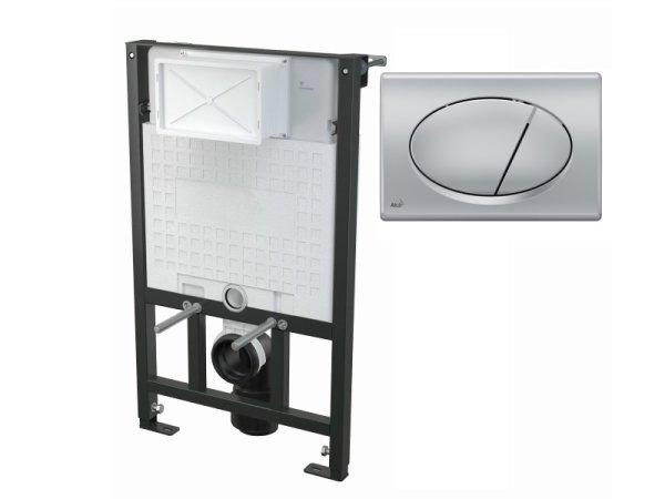 WC-Vorwandelement 850 mm mit Drückerplatte M72 chrom-matt