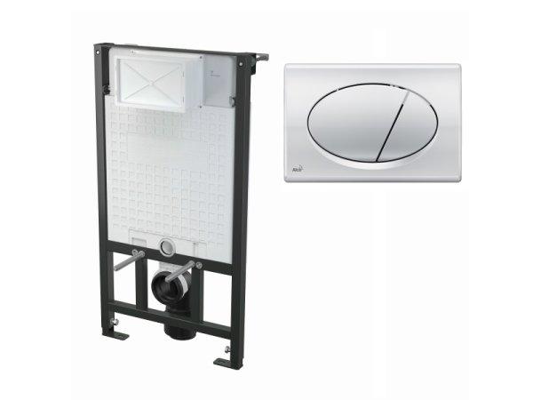 WC-Vorwandelement 1000 mm mit Drückerplatte M71 chrom-glanz