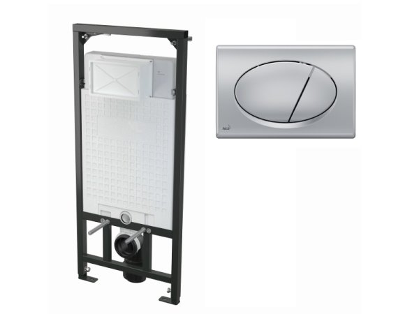 WC-Vorwandelement 1200 mm mit Drückerplatte M72 chrom-matt