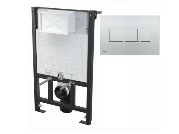 WC-Vorwandelement 850 mm mit Drückerplatte M371 chrom-glanz