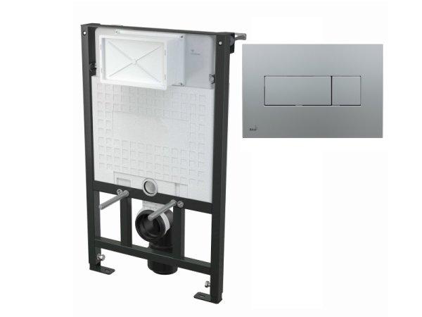 WC-Vorwandelement 850 mm mit Drückerplatte M372 chrom-matt