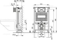 WC-Vorwandelement 850 mm mit Drückerplatte M372...
