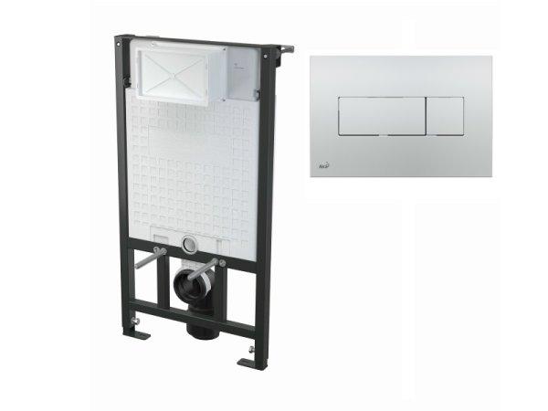 WC-Vorwandelement 1000 mm mit Drückerplatte M371 chrom-glanz