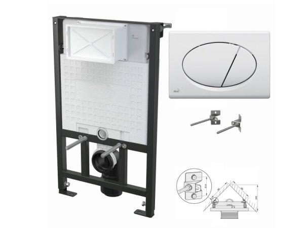 WC-Vorwandelement 850mm zur Eckmontage mit Drückerplatte M70 weiß