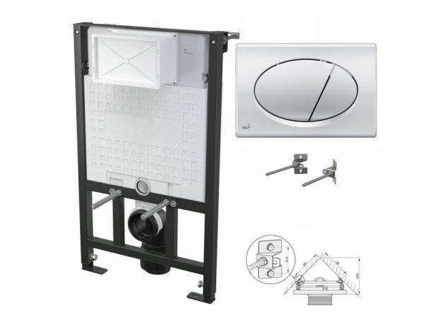 WC-Vorwandelement 850mm zur Eckmontage mit Drückerplatte M71 chrom-glanz