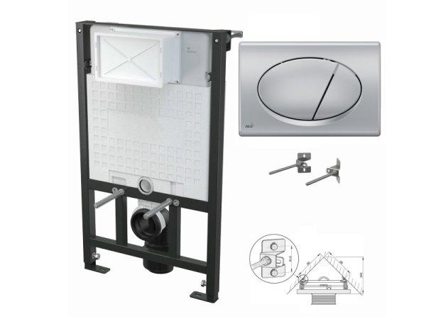 WC-Vorwandelement 850mm zur Eckmontage mit Drückerplatte M72 chrom-matt