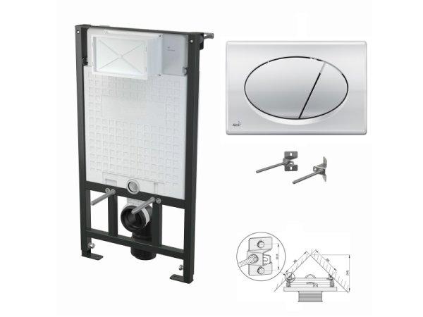 WC-Vorwandelement 1000mm zur Eckmontage mit Drückerplatte M71 chrom-glanz