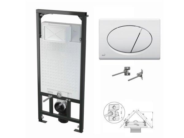 WC-Vorwandelement 1200mm zur Eckmontage mit Drückerplatte M70 weiß