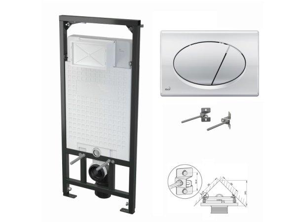 WC-Vorwandelement 1200mm zur Eckmontage mit Drückerplatte M71 chrom-glanz