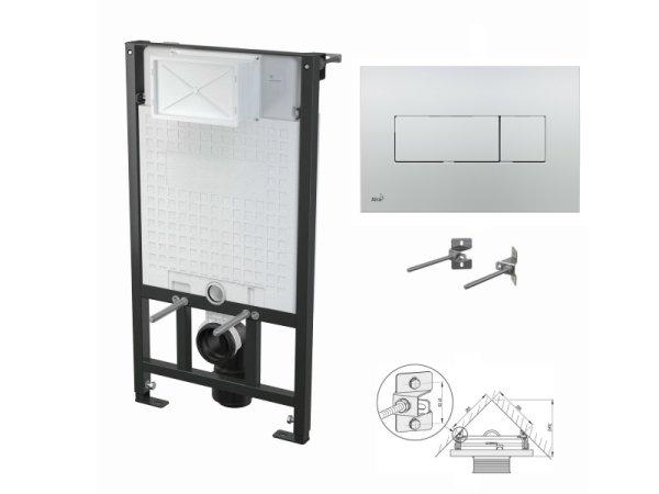 WC-Vorwandelement 1000mm zur Eckmontage mit Drückerplatte M371 chrom-glanz