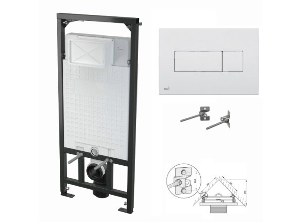 WC-Vorwandelement 1200mm zur Eckmontage mit Drückerplatte M370 weiß