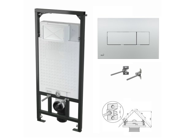 WC-Vorwandelement 1200mm zur Eckmontage mit Drückerplatte M371 chrom-glanz