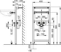 Vorwandmontage-Element Höhe 850mm für Waschbecken