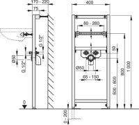 Vorwandmontage-Element Höhe 1000mm für Waschbecken