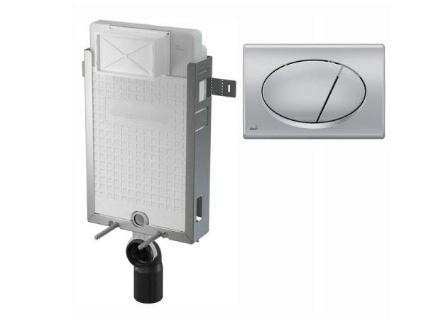 WC-Nassbau-Element 1000mm mit Drückerplatte M72 chrom-matt