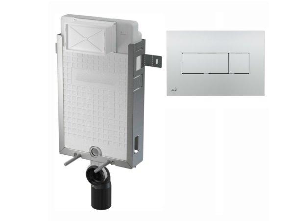 WC-Nassbau-Element 1000mm mit Drückerplatte M371 chrom-glanz