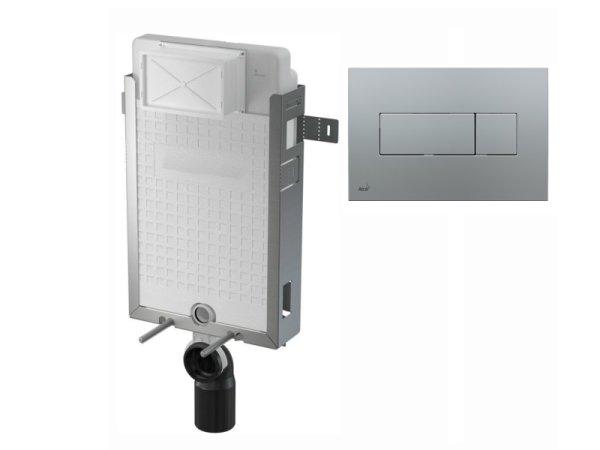 WC-Nassbau-Element 1000mm mit Drückerplatte M372 chrom-matt
