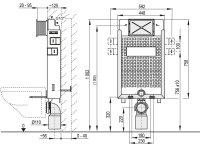 WC-Nassbau-Element 1000mm mit Drückerplatte M372...