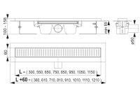Edelstahl-Bodenablaufrinne 750mm inkl. Edelstahlrost...