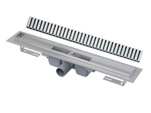 "Edelstahl-Bodenablaufrinne (extra flach) 850mm inkl. Edelstahlrost ""Line"""