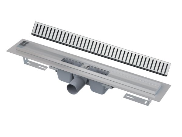 "Edelstahl-Bodenablaufrinne (extra flach) 750mm inkl. Edelstahlrost ""Pure"""
