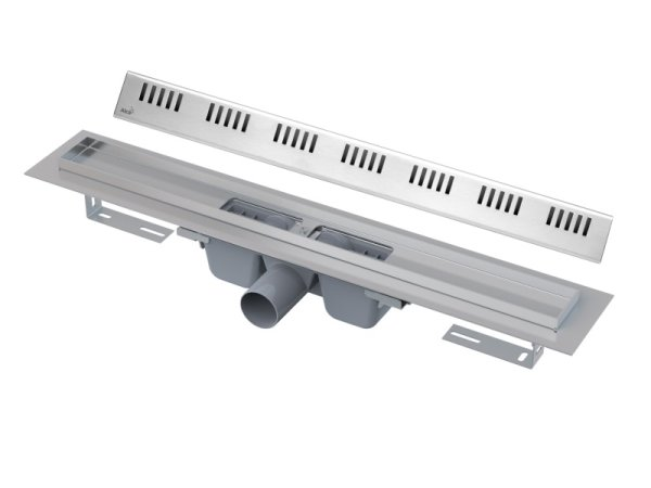 "Edelstahl-Bodenablaufrinne (extra flach) 950mm inkl. Edelstahlrost ""Dream"""