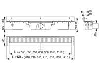 """Edelstahl-Bodenablaufrinne mit Wandflansch 850mm inkl. Edelstahlrost """"Line"""""""