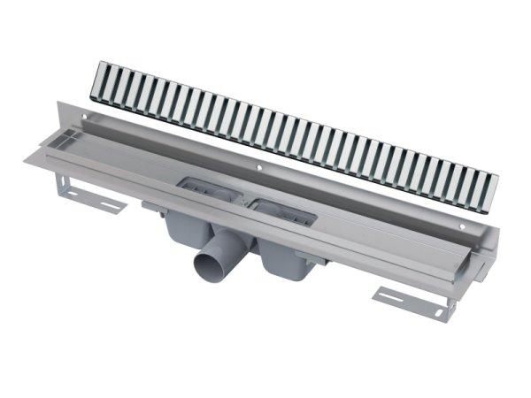 """Edelstahl-Bodenablaufrinne mit Wandflansch 950mm inkl. Edelstahlrost """"Line"""""""